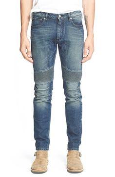 Belstaff 'Eastham' Slim Fit Washed Moto Jeans (Mid Blue) available at Denim Fashion, Fashion Models, Fashion Trends, Moto Jeans Mens, Belstaff, Casual Wear, Nordstrom, Skinny Jeans, Slim