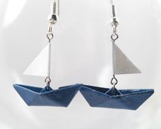 Origami - sailing boat - Origami - Japanese paper earrings