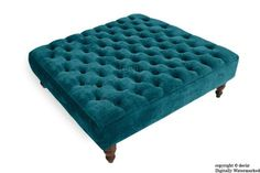 Tiffany Buttoned Chenille Footstool Large - Teal with Optional Storage