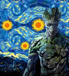Guardian of the starry night .... van gogh guardians of the galaxy groot