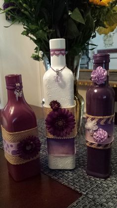 Purple Hues Shabby Chic Decorative Bottles  by CathysCreationsCo, $45.00