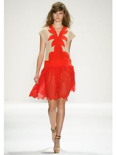 Tangerine  Jill Stuart  Palm trees were a definite, if not literal, inspiration of Jill Stuart's latest collection, and it got play in this sweet coral-and-cream dress.