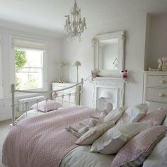 7 Shabby Chic Bedroom Interior Design Perfect For Your Apartment Apartment Decorating Are you currently building your first Shabby Chic Bedroom? If so, there are a few things you need to consider when building your bedroom. The Shabby C. All White Bedroom, White Room Decor, Pink Bedroom Decor, Shabby Chic Bedrooms, Home Bedroom, Girls Bedroom, Pretty Bedroom, Pastel Bedroom, Pink Bedrooms