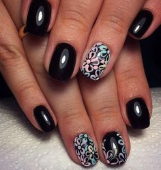 Black dress nails, Bright gel polish for nails, Dimension nails, Expensive nails, flower nail art, Glossy nails, Mysterious nails, Neon nails
