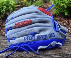Effort never dies! Customize your baseball or softball glove at sx3sports.com Custom Softball Gloves, Powerlifting, Golf Bags, Effort, Backpacks, Baseball, Sports, Hs Sports, Sport