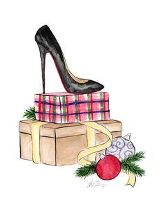 Christmas Shoes Watercolor Fashion Illustration by KaraEndres
