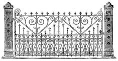 Victorian Clip Art - Ornate Iron Gate - The Graphics Fairy