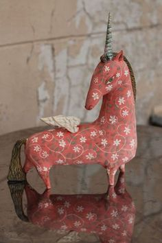 Mythological creatures and their baroque and renaissance artistic interpretation will always remain an important source of inspiration for me. This lovely Winged Unicorn is handmade and u.