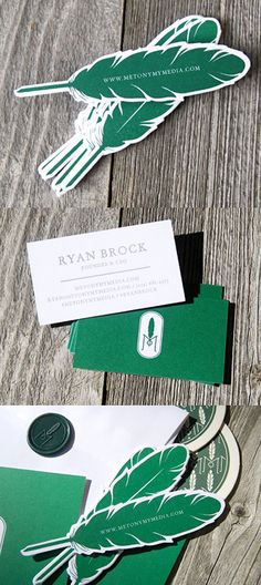 Die Cut Feather Bookmark Business Card