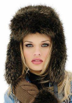 Raccoon Faux Fur Trapper Hat