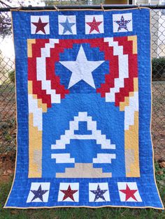 queenofthepages:  The Star Spangled Man: A Captain America throw quilt Designed and made by yours truly!