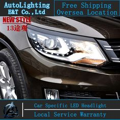 508.71$  Watch now - Car Styling VW Tiguan headlights 2013-2014 Tiguan LED Headlight TSI Automobile angel eye led drl H7 hid Bi-Xenon Lens low beam  #magazineonline