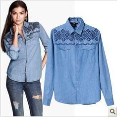 13 isı avrupa ve amerikan tarzı h geometrik İşlemeli uzun kollu denim gömlek yaka gömlek bluzlar(China (Mainland))