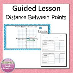 Distance Between Points Guided Lesson. (Four quadrants) Interactive and self checking.  Included --Power Point file --8 worksheets -- Answer Key  Possible Uses --Supplemental activity --Centers or stations --Introduce or review the topic --Whole class instruction --Students may work independently on a computer --Use the worksheets before, during, or after students view the PPT --General Ed Class --AIS, resource, math lab etc --Flipped Learning