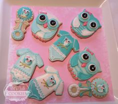 Owls for Baby Shower by Lets Talk Cookies - perfect for a boy or girl | Cookie Connection