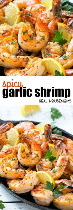 This Spicy Garlic Shrimp has bold flavors and only takes 5 minutes to cook! This recipe is perfect as an appetizer or main course. via @realhousemoms