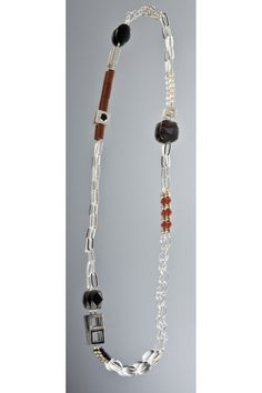 necklace - Sterling silver, red jasper, faceted carnelian, onyx, cultured pearl, clear  crystal, obsidian  by Janis Kerman Design
