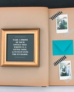 A vintage-style scrapbook became the guest book, and the bride added tiny envelopes and patterned tape to each page so guests could tuck personal notes and miniature Fuji Instamax prints inside.
