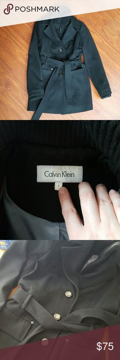 Calvin Klein Coat Classic style - can be dressed up or down! Features a zip and 3 button closure with a waist tie. Sweater cuffs and turtleneck. 60% wool, 25% polyester, 10% viscose, 5% other fibers. Mid-length, hits mid thigh. Very warm! In excellent used condition, like new! Calvin Klein Jackets & Coats Pea Coats
