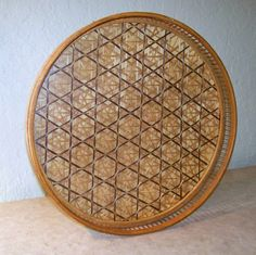 Vintage Bamboo Tray with Glass Top Intricate by NonisEclecticShop, $17.50