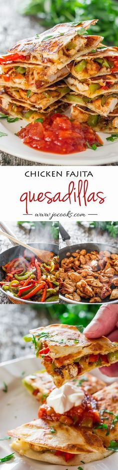 Chicken Fajita Quesadillas – sauteed onions, red and green peppers, perfectly seasoned chicken breast, melted cheese, between two tortillas. Simply yummy.