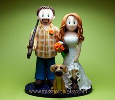 Outdoor Country Navy Blue Orange Hunter Book Lover Wedding Cake Topper by missnatch.etsy.com