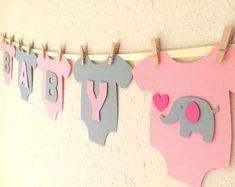 "Baby One-Piece Bodysuit ""BABY GIRL"" Elephant Baby Shower Banner: Pink and Gray Elephant Baby Shower Decoration #babyshowerniña"