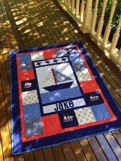 Nautical baby boy cot or crib quilt. Love the bold color scheme and the name on - Nautical Baby Names - Ideas of Nautical Baby Names - Nautical baby boy cot or crib quilt. Love the bold color scheme and the name on it too. Quilt Baby, Nautical Baby Quilt, Baby Boy Quilt Patterns, Cot Quilt, Nautical Nursery, Sailboat Baby Quilt, Marine Style, Panel Quilts, Children's Quilts