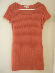 Forever 21 Dress M Medium Coral Ruffle Lined SS Short Sleeve #FOREVER21