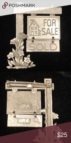 """Pewter Silver Real Estate For Sale Sign Brooch Pin Pewter Silver Real Estate For Sale Sign Brooch Pin by JJ Jewelry  Measures about 2 1/4"""" x 1 1/2"""" Very good condition Super fast shipping with delivery confirmation JJ Jonette Jewelry Brooches"""