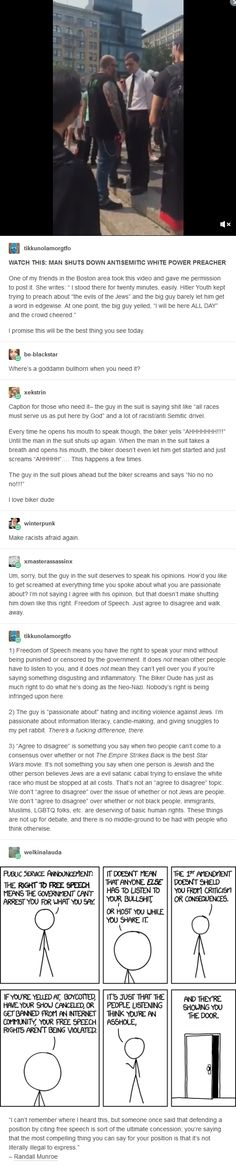 Freedom of speech has its limits y'all— validating the desire to get rid of jewish people and everyone else who isn't see as pure (white) enough oversteps the limit by a mile Faith In Humanity Restored, Text Posts, Social Justice, Thought Provoking, Equality, Just In Case, Funny, Things To Think About, Knowledge