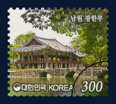 Definitive Postage Stamps 300KRW, Kwanghan-nu in Namweon, architecture, Green, Brown, white, 2013 11 11, 보통우표 300원, 2013년11월11일, 2946, 남원 광한루, postage 우표