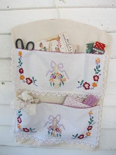 Basket Embroidery Wall Hanging Vintage Linens by BettyandBabs, $35.00. Use some old linens
