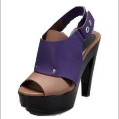 Marni Tan+Purple Heel Marni tan+ purple chunky heels. Funky shoes for any occasion! Never worn, without box. Marni Shoes