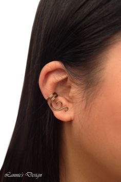 Antiqued Brass Ear Cuff, No Piercing Earrings, Brown Wire Earcuff, Free Shipping anywhere in the USA