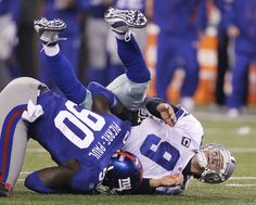 "Jason Pierre Paul (NY Giants, putting the hurt on Tony Romo. ""You down with JPP? New York Football, Best Football Team, Football Fans, New York Giants, Football Stuff, Cowboys Vs Giants, Giants Football, Nfl Season Start, Jason Pierre Paul"