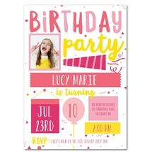 Lively Confetti: Medium Pink Girl Birthday Invitations