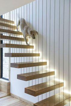 Fique por dentro das principais tendências de escadas feitas com madeiras. Veja 80 fotos.