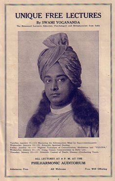 Advertisement for Yogananda's Lectures at Philharmonic