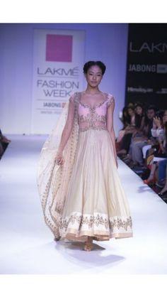 Baby Pink and Beige Chanderi Anarkali - reddy - jiva couture