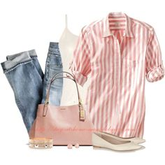 Stripe Roll Sleeve Henley Top