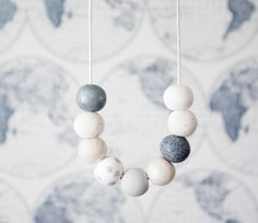 White and Grey Statement Bead Necklace White by ClaudiaMadeThis