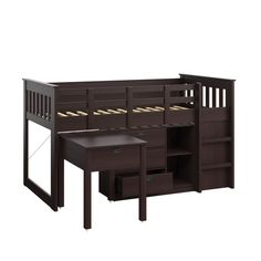 CorLiving Madison Single Desk and Storage Twin Loft Bed in Rich Espresso for sale online Single Loft Bed, Space Saving Desk, Bunk Bed With Desk, Low Loft Beds, Bed Reviews, Stackable Chairs, Loft Spaces, Bed Sizes, Bunk Beds