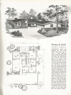 Mid Century Modern House Plans Awesome Vintage House Plans Mid Century Homes Homes Vintage House Plans, Modern House Plans, House Floor Plans, Vintage Homes, New House Construction, Mcm House, Tiny House, Remodeling Mobile Homes, Mid Century House