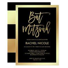 Modern Faux Gold and Black Bat Mitzvah Invitation