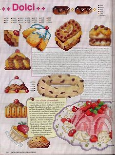Large collection of free Cross Stitch Patterns and Charts: Cross-stitch patterns, sweets, cakes and pies Cross Stitch Fruit, Cross Stitch Kitchen, Cross Stitch Books, Mini Cross Stitch, Beaded Cross Stitch, Cross Stitch Embroidery, Blackwork Patterns, Needlepoint Patterns, Cross Stitch Designs