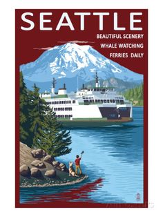 Ferry & Mount Rainier Scene - Seattle, Washington Prints by Lantern Press at AllPosters.com