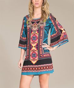 Look at this #zulilyfind! Teal & Black Tribal Shift Dress by Flying Tomato #zulilyfinds