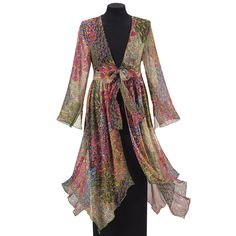 Peacock Print Duster - New Age, Spiritual Gifts, Yoga, Wicca, Gothic, Reiki, Celtic, Crystal, Tarot at Pyramid Collection