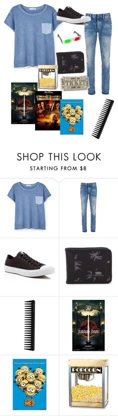 """""""going to the movies with a friend part 2 (final)"""" by winternightfrostbite ❤ liked on Polyvore featuring MANGO, Denham, Converse, Vans, GHD, Thos. Baker, mens, men, men's wear and mens wear"""